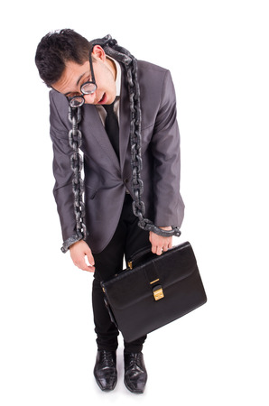 fetter: Man with chain isolated on white