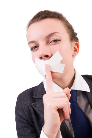 censorship: Young woman in censorship concept Stock Photo