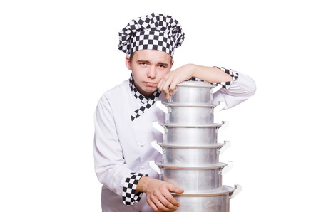 disgruntled: Funny male cook isolated on white