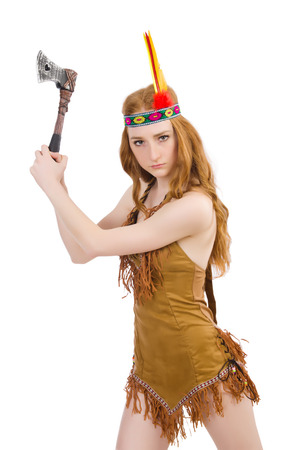 aboriginal woman: Indian woman with axes on white