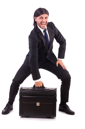 Businessman on business trip with luggage photo