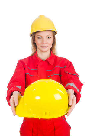 Woman in industrial concept isolated on white photo