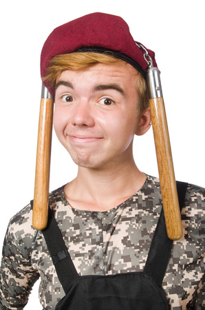 nunchaks: Funny soldier isolated on white