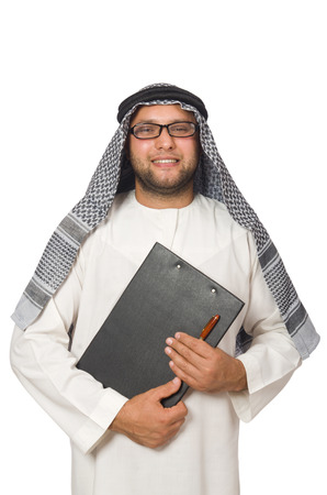 kandura: Concept with arab man isolated on white
