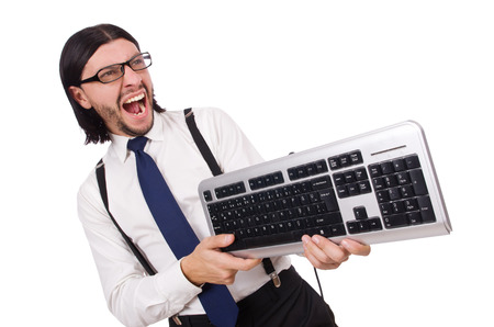 Young funny businessman with keyboard isolated on white photo