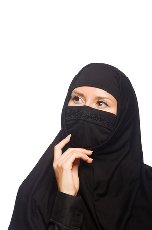 burqa: Muslim woman isolated on the white Stock Photo