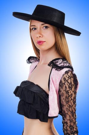 toreador: Woman toreador isolated on the white Stock Photo