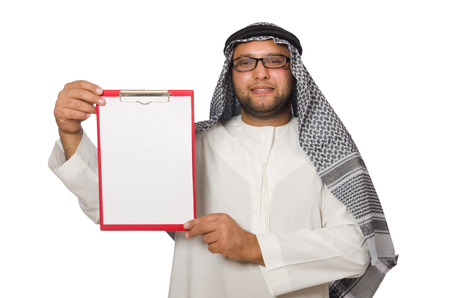 Concept with arab man isolated on white photo