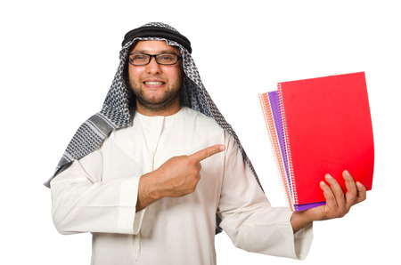 coran: Concept with arab man isolated on white