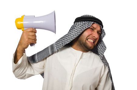 bohra: Arab man with loudspeaker isolated on white