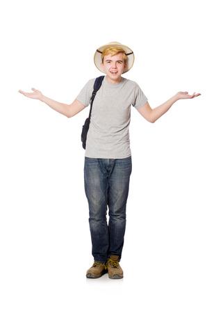 Man in safari hat in hunting concept photo