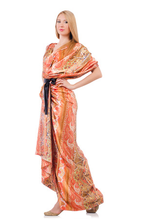 maxi dress: Woman in fashion clothing concept