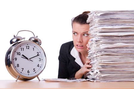 office time: Woman businesswoman under stress missing her deadlines