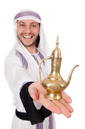 kandura: Arab man with lamp isolated on white