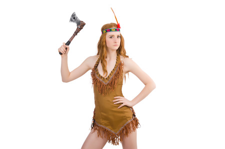 axes: Indian woman with axes on white
