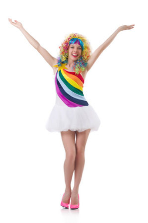 pret a porter: Woman with colourful wig isolated on white