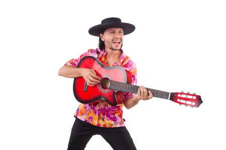 serenade: Man wearing sombrero with guitar Stock Photo