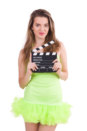 clapperboard: Young fairy with clapperboard isolated on white