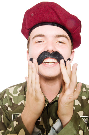 Funny soldier in military concept photo