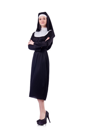 pious: Nun isolated on the white background