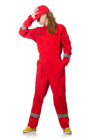 industry moody: Woman in industrial concept isolated on white Stock Photo