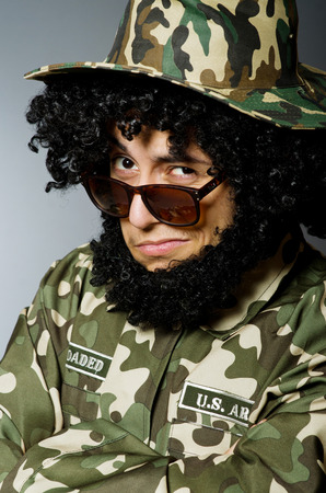 guerrilla: Funny soldier in military concept Stock Photo