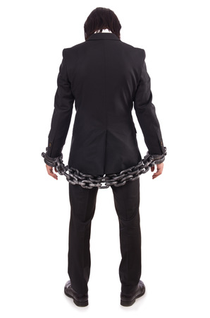 Man with chain isolated on the white photo