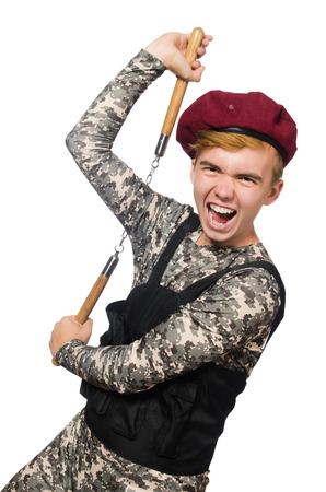 nunchaks: Funny soldier in military concept isolated on the white Stock Photo