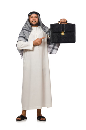 qameez: Concept with arab man isolated on white