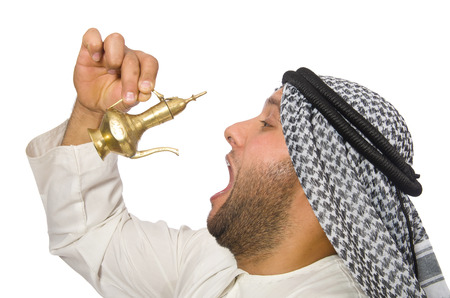 Arab man with lamp isolated on white photo