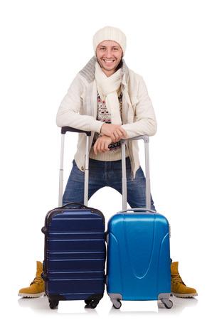 winter vacation: Man preparing for winter vacation Stock Photo
