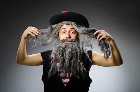long beard: Funny pirate with long beard
