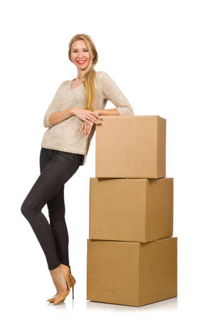 Woman with boxes relocating to new house isolated on white Stock Photo