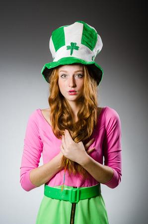 patrick: Woman wearing saint patrick hat