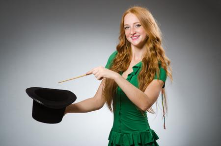 wizardry: Woman magician wearing green dress