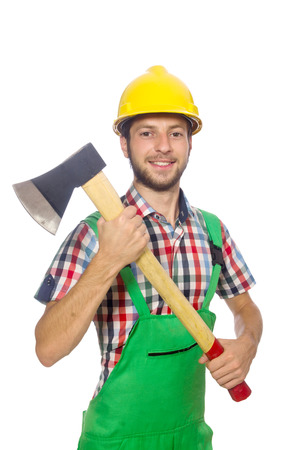 lumberman: Industrial worker isolated on the white background