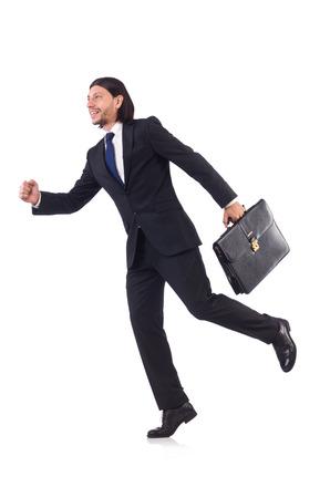 rushing: Businessman rushing isolated on the white background