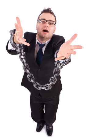 Businessman with chain isolated on the white photo
