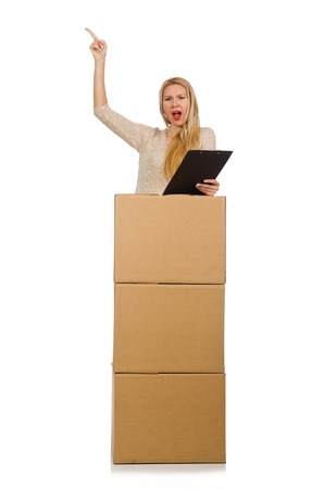 Woman with boxes relocating to new house isolated on white photo