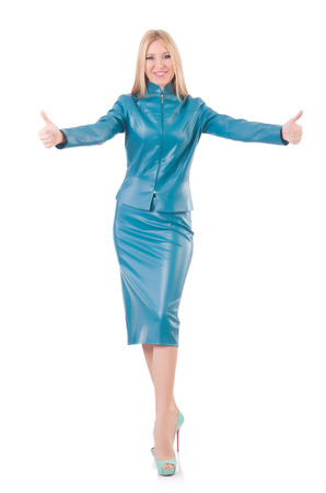 frock coat: Woman giving thumbs up isolated on white
