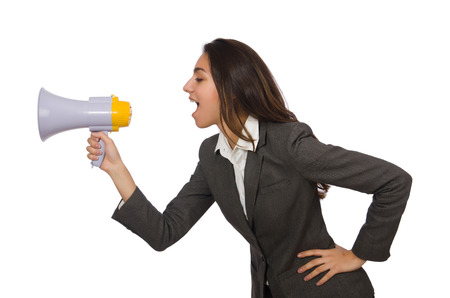 Woman with loudspeaker on white photo