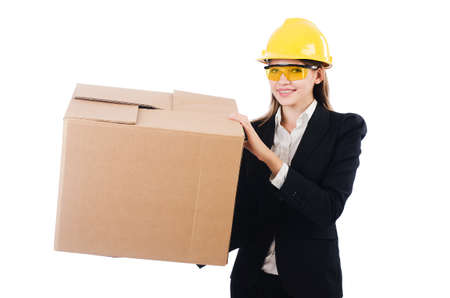 Young businesswoman with box isolated on white photo