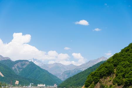 placid water: Mountains in Gabala region  - Azerbaijan Stock Photo