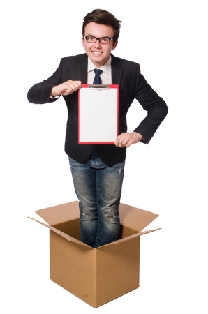 thinking out of the box: Young businessman in thinking out of box concept
