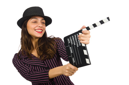 clapboard: Woman with movie clapboard isolated on the white Stock Photo