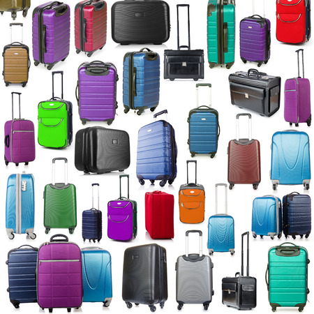 suitcase packing: Background made of many suitcases on white Stock Photo
