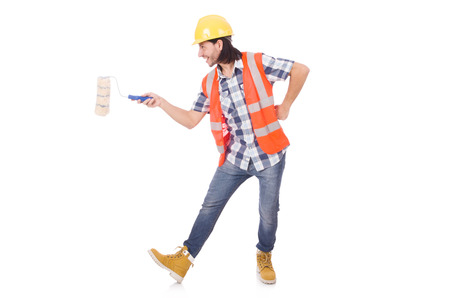 painter and decorator: Funny painter isolated on white