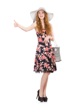 hitch hiker: Woman with bag in fashion concept