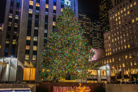 plaza: New York - DECEMBER 20, 2013: Christmas Tree at Rockefeller center on December 20 in USA, New York. Christmas Tree at Rockefeller center is the most famous christmas tree in USA Editorial