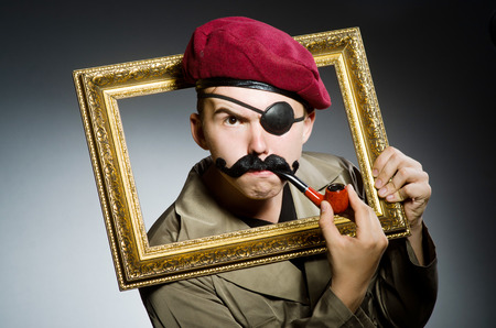 passe: Funny soldier in military concept Stock Photo